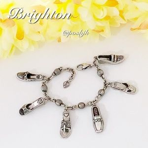 Brighton Charm Bracelet Silver Shoe Charms Vintage